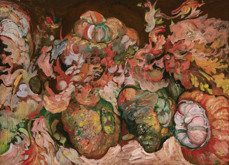 Still Life with SquashesHyman Bloom (American, (born in Lithuania, now Latvia) 1913–2009) Oil on canvas *Stella Bloom Trust *© Stella Bloom Trust *Courtesy, Museum of Fine Arts, Boston
