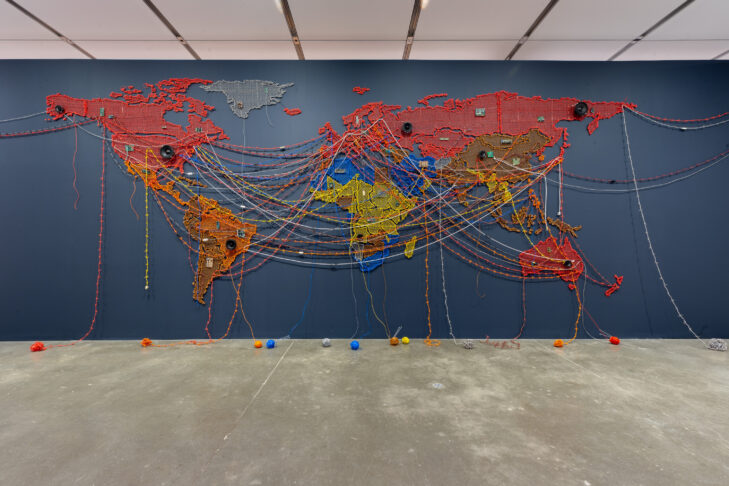 """Woven Chronicle"" by Reena Saini Kallat, 2011-19, from ""When Home Won't Let You Stay: Migration through Contemporary Art"" at the Institute of Contemporary Art/Boston, 2019. (Photo by Mel Taing © Reena Saini Kallat)"