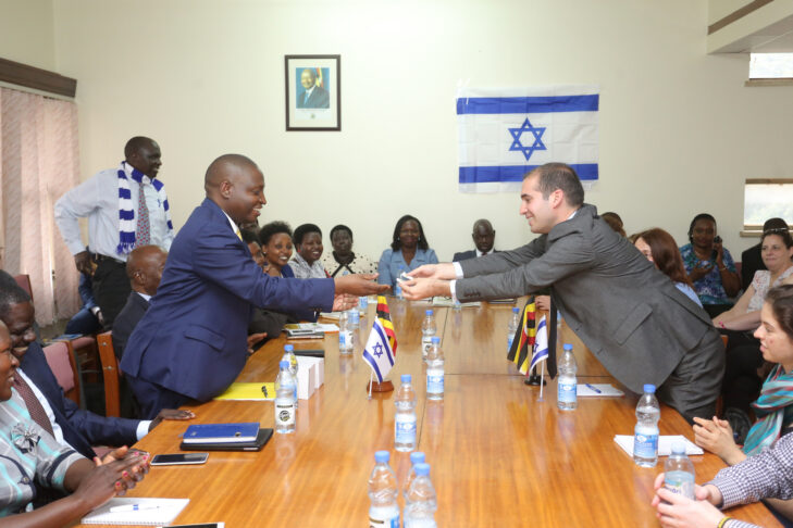 Deputy Ambassador Eyal David (right) meets with members of Friends of Israel Parliamentary caucus in Uganda (Photo: Billy Mutai)