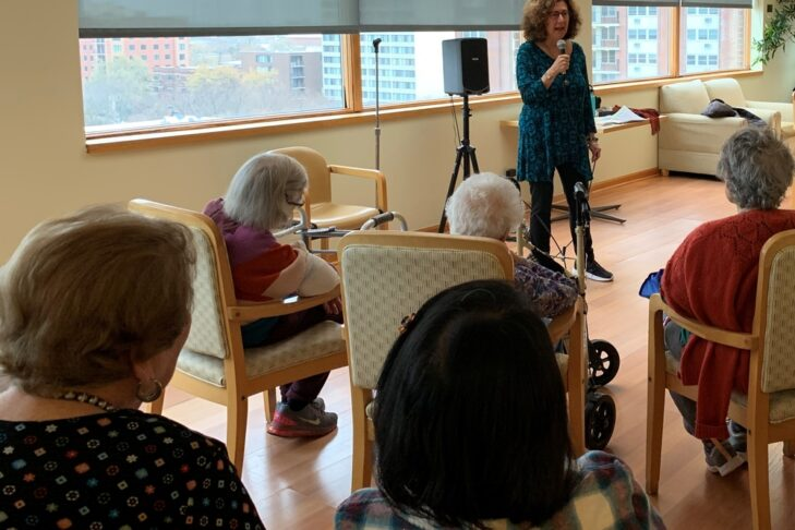 Marjie Sokoll of JF&CS speaking at The Selfhelp Home in Chicago (Courtesy photo)