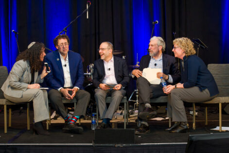 From left: Rabbi Sheryl Katzman, associate director, Legacy Heritage Instructional Leadership Institute, Rabbi Dr. Bradley Shavit Artson, vice president, American Jewish University, Rabbi Jacob Blumenthal, chief executive, Rabbinical Assembly, Arnold M. Eisen, chancellor, Jewish Theological Seminary, and Leslie Lichter, interim CEO, United Synagogue of Conservative Judaism (Photo: Cobalt Photography)