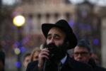 BOSTON. - DECEMBER 22: Rabbi Yosef Zaklos  seeks to the crowd during the 36th Annual Menorah lighting in the Boston Common on December 22, 2019 in Boston, MA. (Staff Photo By Nancy Lane/MediaNews Group/Boston Herald)