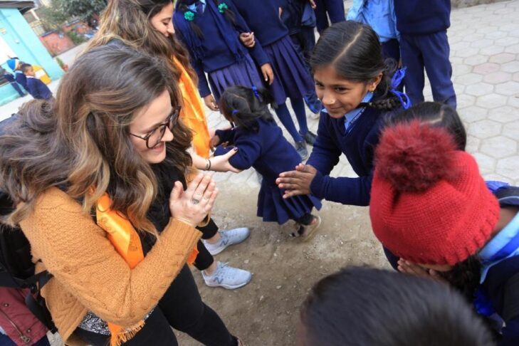 Deryn with students at Shanti Shikshya Mandir School (Courtesy photo)