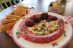 Beet hummus with sweet potato falafel at Cafe Landwer (Courtesy photo)