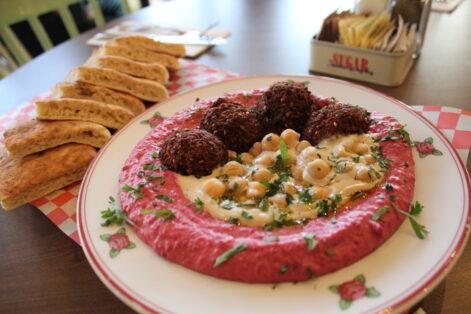 Beet hummus with sweet potato falafel at Cafe Landwer (Courtesy photo)
