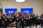 "JNF staffers do the ""tree pose"" (Courtesy photo)"