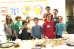 Students at Kesher Newton hosting a bake sale for JF&CS Family Table (Courtesy photo)