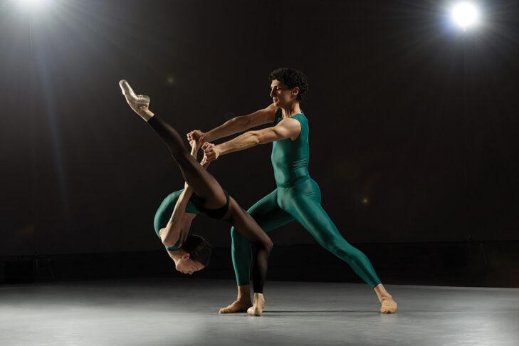"Viktorina Kapitonova and Lasha Khozashvili in William Forsythe's ""In the Middle, Somewhat Elevated"" by Rachel Neville Photography (Courtesy Boston Ballet)"