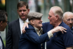 Mr. Ross embraced former Boston mayor Raymond Flynn during a rededication ceremony of the New England Holocaust Memorial in 2017. NICHOLAS PFOSI FOR THE BOSTON GLOBE
