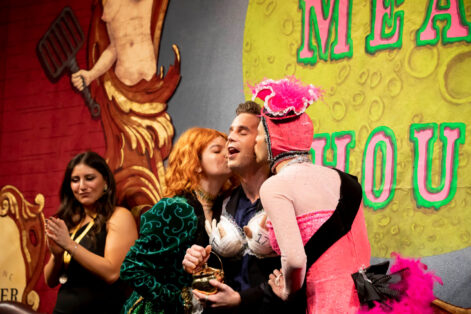 Ben Platt, center, is the youngest man to receive the Pudding Pot in Hasty Pudding's 54-year history at Harvard University. (Photo: Rose Lincoln/Harvard Staff Photographer)