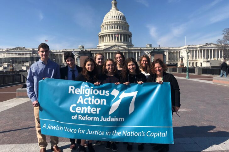 B'nai Torah students and Rabbi Dr. Lisa Eiduson ready to lobby congress in favor of a bill that would dramatically increase the amount of money available for people who need access to mental health care services. (Courtesy photo)