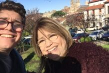 The author and her son, Adam, pictured in late February 2020, in Santiago de Compostela the regional capital of Galicia, Spain. (Courtesy)