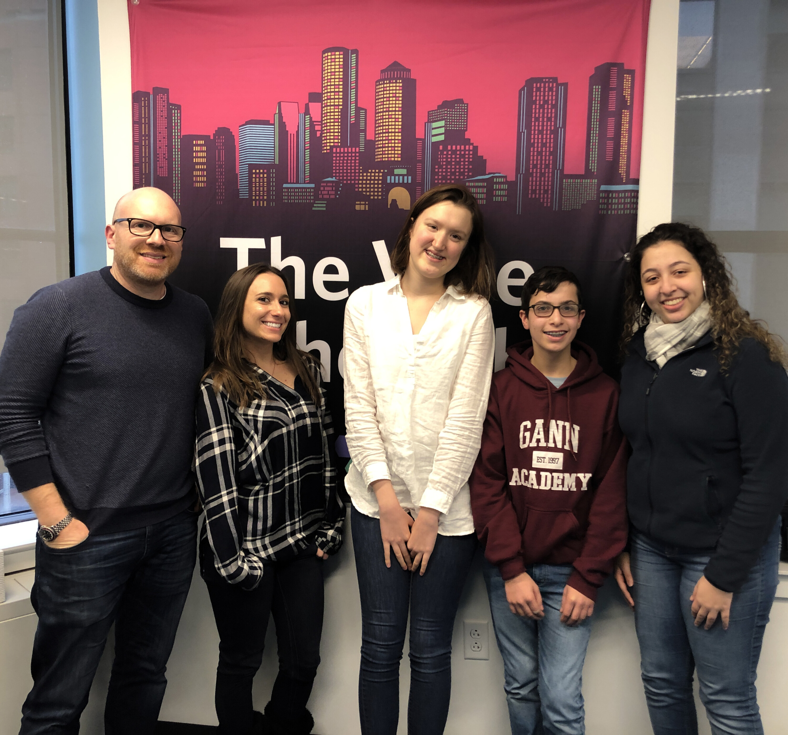 From left: Hosts Dan Seligson and Ashley Jacobs with guests Isabelle, Shalev and Reyand (Photo: Miriam Anzovin)
