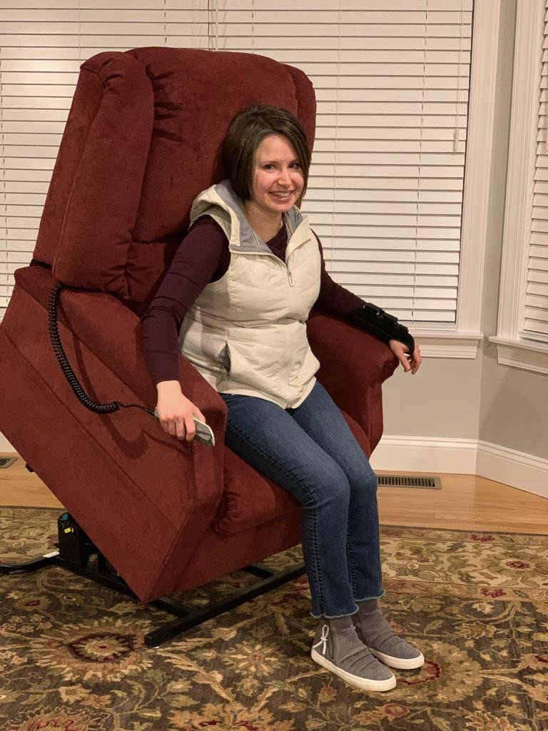 Laura testing out her new power lift recliner. (Courtesy photo)