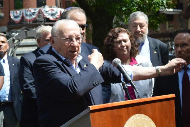 Izzy Arbeiter speaks at the New England Holocaust Memorial rededication on June 8, 2018 (Photo: Craig Byer/CJP)
