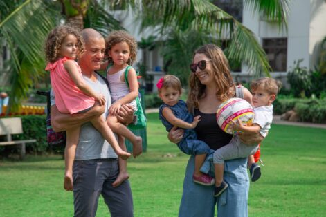 Marissa and Adam Goldstein with their two sets of twins, Raya, Efi, Noa and Eyva (Courtesy photo)