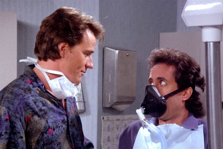 """Bryan Cranston and Jerry Seinfeld in the """"Seinfeld"""" episode """"The Jimmy!"""" (Promotional still)"""