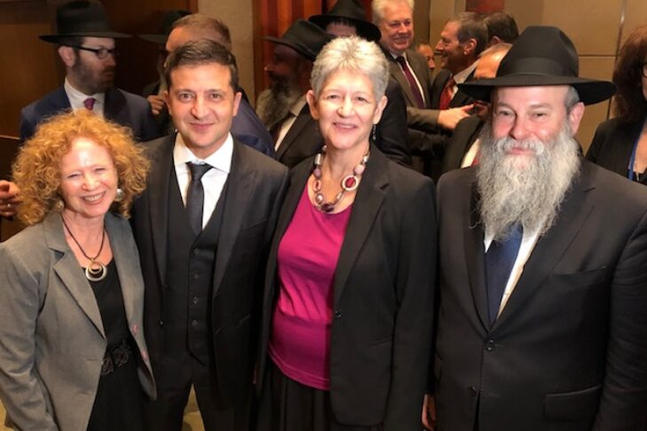 From left: Barbara Gaffin, director of DKP; President Volodymyr Zelensky of Ukraine; Betsy Hecker, chair of DKP; and Rabbi Shmuel Kaminezki, chief rabbi of Dnipro, in New York in September 2019 (Courtesy photo)
