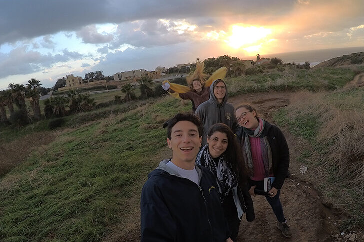 Andrew Circle, front, with friends in Israel (Courtesy photo)