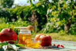 Apple and honey and pomegranate, traditional food of jewish New Year - Rosh Hashana. Spacefor text