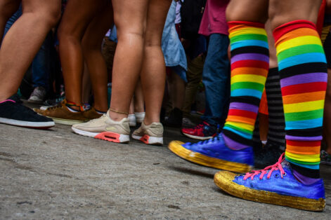 Rainbow Color socks commemorating LGBT parade with various shoes and tennis styles