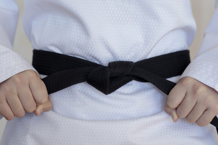 The taekwondo girl with black belt