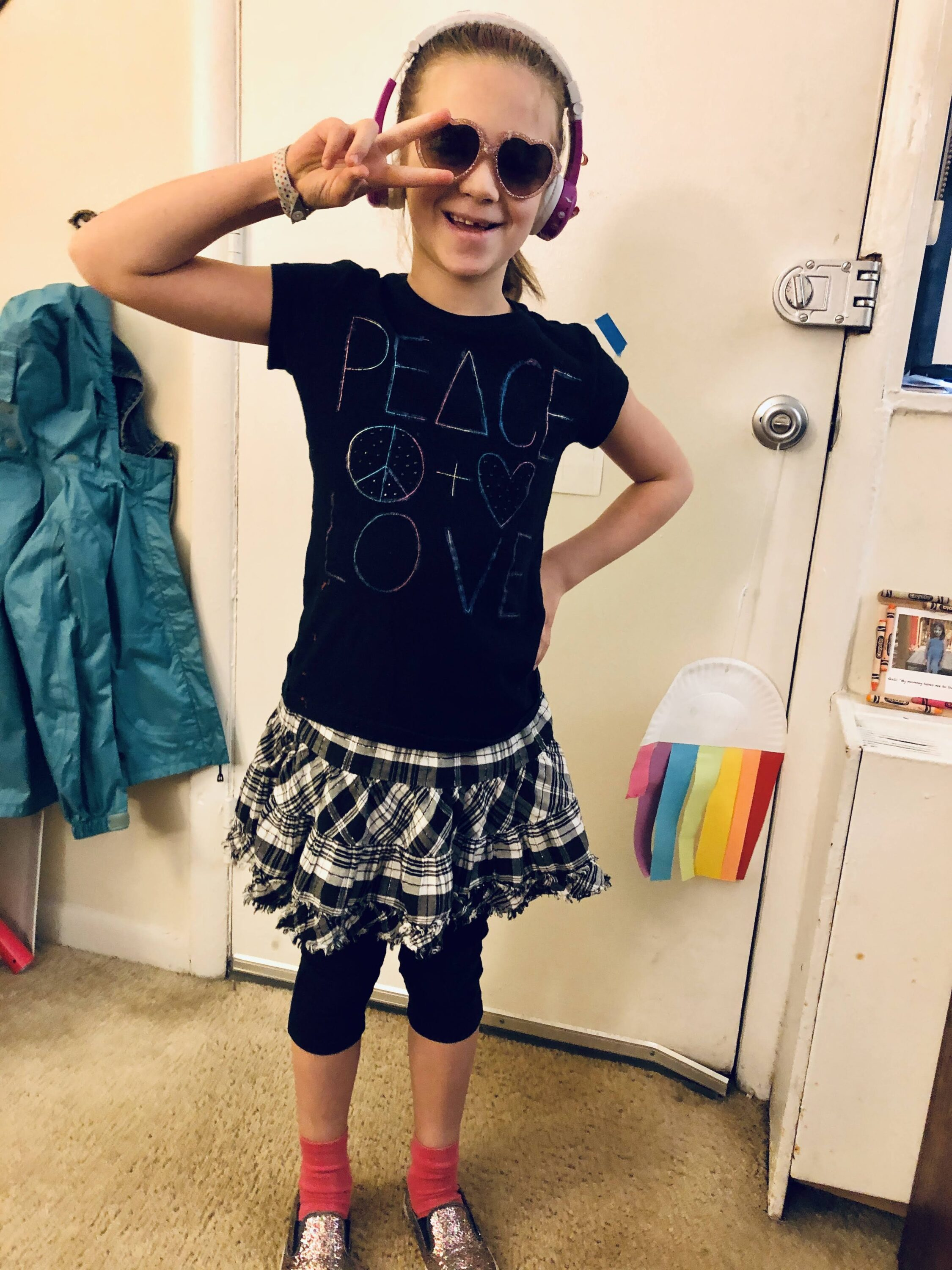 Gali Feinberg dressed as a rockstar for Purim (Courtesy photo)