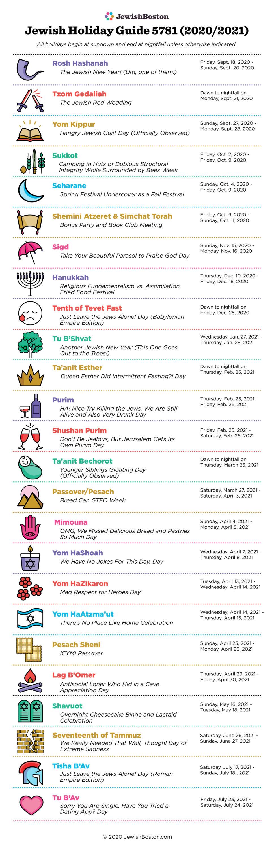 Jewish Holiday Calendar 2021 Jewish Holiday Calendar | JewishBoston