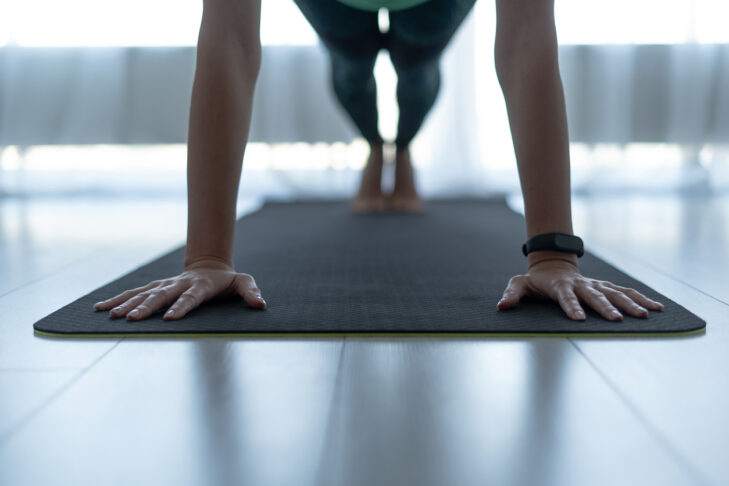 Cropped view of sporty and young adult woman standing in plank pose on fitness mat at home