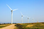 Israel. Wind generator - wind farm on Mount Gilboa. Modern equipment for generating electric energy. The concept of environmental protection and photo tourism