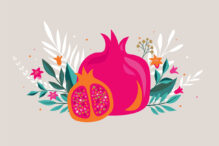 Rosh Hashana, Jewish holiday, New Year greeting card with pomegranate, apple and flowers. Vector illustration