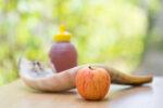 Apple, honey and shofar for the Jewish New Year, Rosh Hashana.