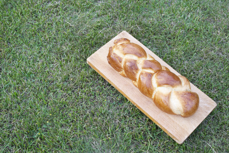 Traditional swiss butter bread known as zopf or butterzopf on a lawn.