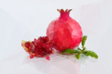 Pomegranate in polygonal crystal style on light background. Formed by triangles.