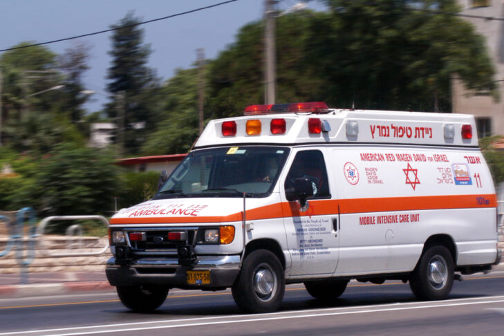 Nahariya, Israel - July 26, 2006: Israeli Magen David Adom ambulance on July 26 2006. Since June 2006, Magen David Adom has been officially recognized by the Red Cross (ICRC)as the national aid society of Israel.