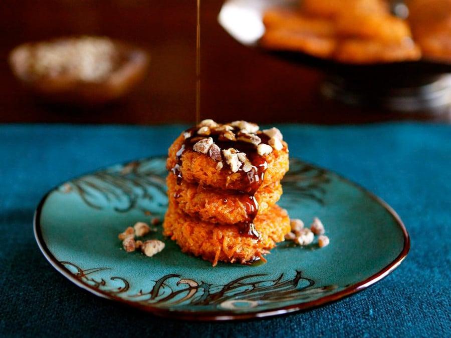 Sweet-Potato-Latkes-with-Brown-Sugar-Syrup-900×675