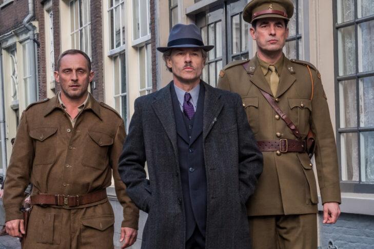 Roland Møller as Espen Vesser, Guy Pearce as Han Van Meegeren, Claes Bang as Joseph Piller in TriStar Pictures' THE LAST VERMEER.