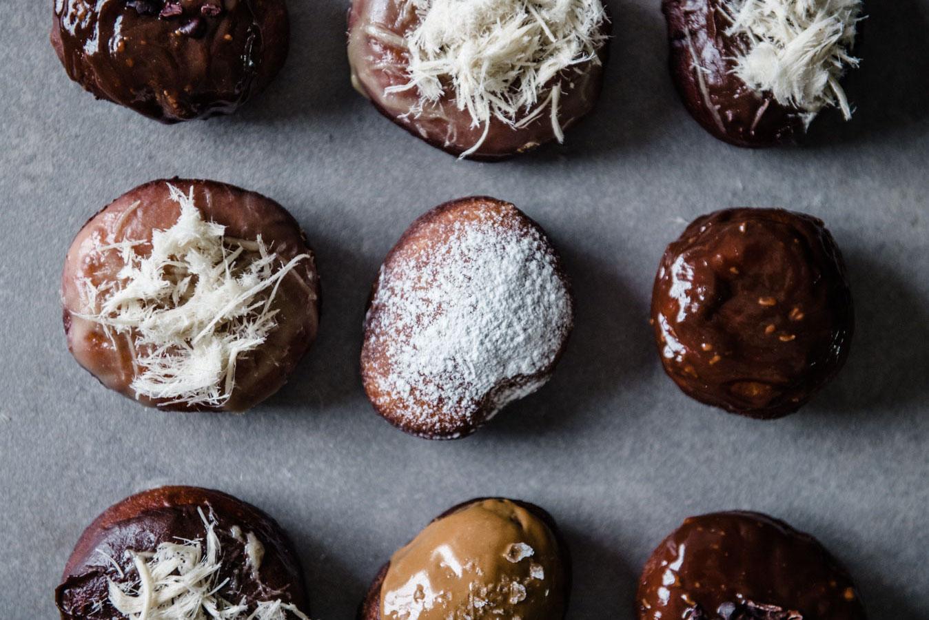 Vanilla Bean Sufganiyot With Halva, Cookie Butter, Praline and Chocolate Variations