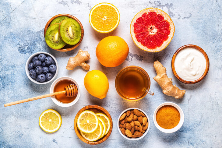 Healthy products for Immunity boosting and cold remedies, top view.