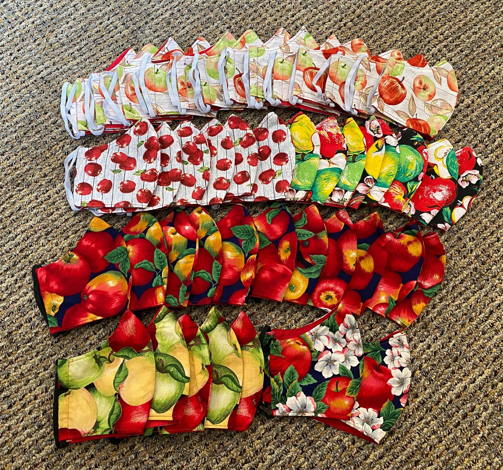 Masks decorated with apples for Rosh Hashanah