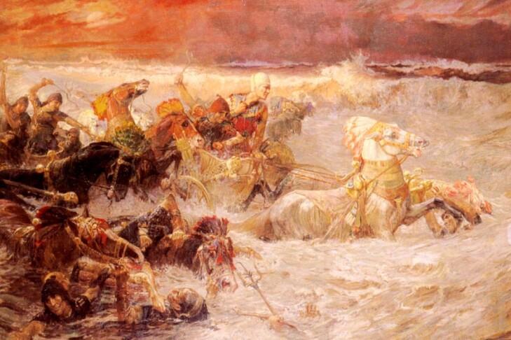 """Pharaoh's Army Engulfed by the Red Sea"" by Frederick Arthur Bridgman"