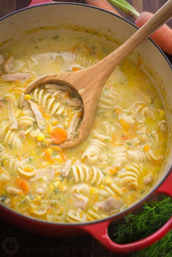 Creamy Chicken Noodle Soup Recipe – Natasha's Kitchen