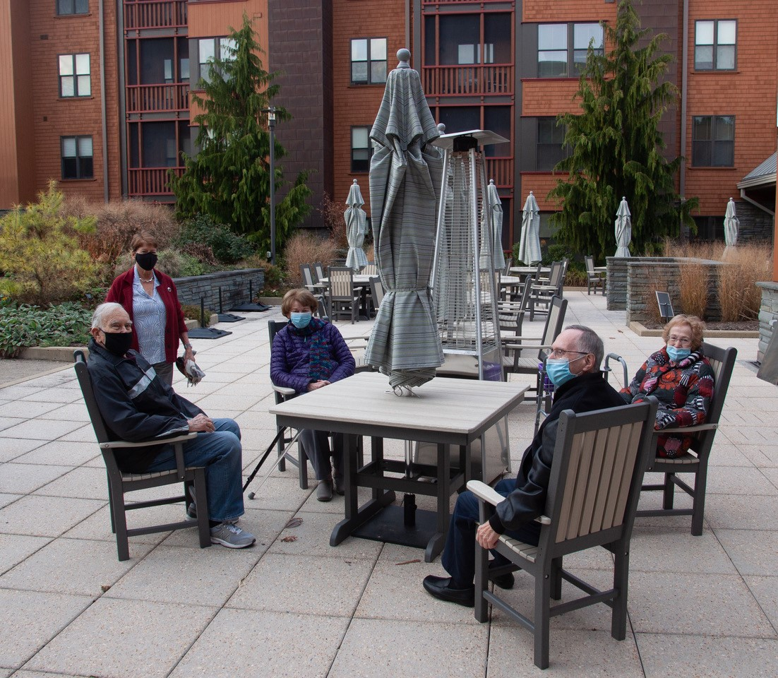 Heat lamps for older adults at Hebrew SeniorLife (Courtesy photo)
