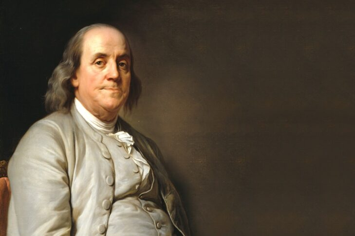 benjamin-franklin-with-empty-board-picture-id490671416