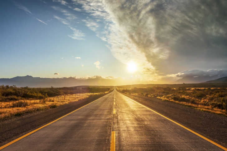 Road, Highway, Street, Summer, Sunrise - Dawn