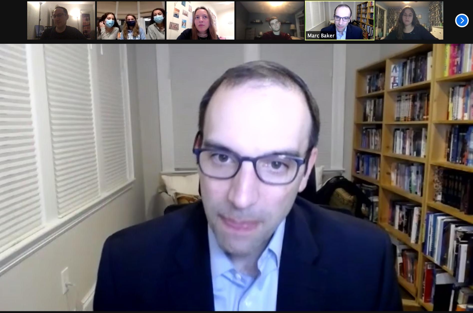 Rabbi Marc Baker speaks at an Intercampus Leadership Committee meeting (Screenshot)