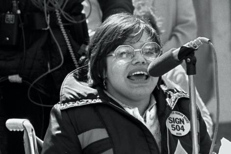 Judy Heumann speaks in San Francisco in 1977 at a demonstration on Section 504 of the Rehabilitation Act of 1973 (Courtesy photo)