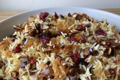 Persian Inspired Chicken and Rice With Dried Fruit – Feature