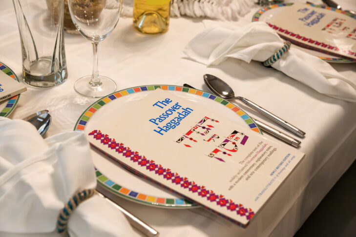Boynton Beach, Florida, USA, - March 26, 2013: This is a traditional Passover Seder Table. During this meal, the story of the Exodus from Egypt is retold using a book called the Haggadah. This is the most celebrated Jewish Holliday in the Springtime.