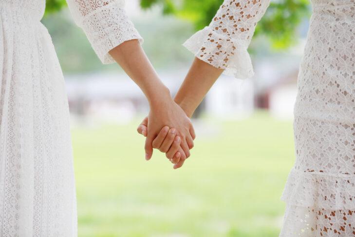 Asian girls holding hands